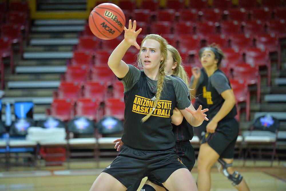 March 17, 2016: Arizona State Sun Devils center Quinn Dornstauder (22) receives an entry pass during the first practice day of the 2016 NCAA Division I Women's Basketball Championship first round in Tempe, Ariz.