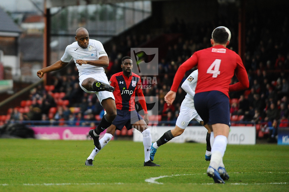 TELFORD COPYRIGHT MIKE SHERIDAN Theo Streete of Telford shoots at goal during the Vanarama Conference North fixture between AFC Telford United and York City at Bootham Crescent on Saturday, January 11, 2020.<br /> <br /> Picture credit: Mike Sheridan/Ultrapress<br /> <br /> MS201920-040