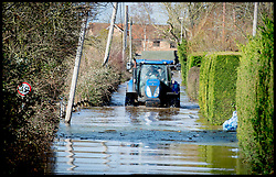 Burrowbridge, Somerset, United Kingdom.Sunday, 9th February 2014. a tractor drive through the flood water near Burrow Bridge as the Somerset levels continue to flood.  The levels have been flooded since the start of 2014, with people being forced to leave their homes. Picture by Andrew Parsons / i-Images