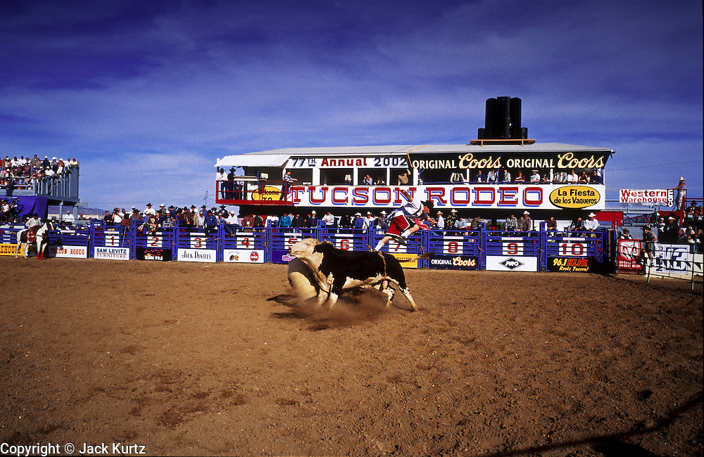 24 FEBRUARY 2002, TUCSON, ARIZONA, USA: Bullfighter Jeff Franks jumps over a bull at the Fiesta de los Vaqueros Rodeo in Tucson, Az, Sunday, Feb. 24, 2002. The Fiesta de los Vaqueros Rodeo has been held for 77 years and is one of the largest professional rodeos in the US. The bullfighters job is to distract the bull and protect the bullriders after the bullrider is thrown or to free the rider from his rigging if he is hung up on the bull.  .PHOTO BY JACK KURTZ