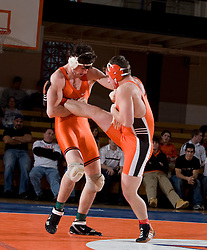 Virginia's Mike Grogan defeated Campbell's Jeffrey Cote by fall (1:04) in the 174lb weight class.   The Virginia Cavaliers defeated the Campbell Camels 48-0 in wrestling at the the University of Virginia's Memorial Gymnaisum  in Charlottesville, VA on February 2, 2008.