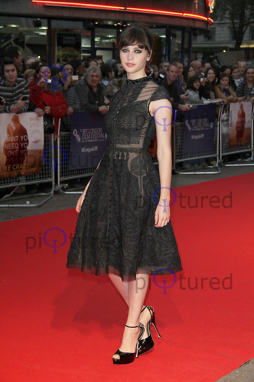 Felicity Jones Like Crazy Premiere at the 55th BFI London Film Festival, Vue Cinema, Leicester Square, London, UK. 13 October 2011. Contact: Rich@Piqtured.com +44(0)7941 079620 (Picture by Richard Goldschmidt)