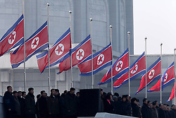 Flags flow at half-mast during the inaugural ceremony for the renovated Kumsusan Palace of the Sun, where the embalmed bodies of Kim Il Sung and Kim Jong Il are laid in Pyongyang, capital of the Democratic Peoples Republic of Korea (DPRK), on Dec. 17, 2012.), December 17, 2012, Photo by Imago / i-Images...UK ONLY