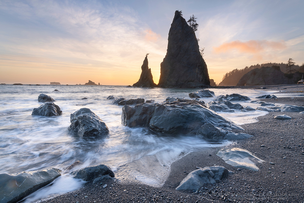 Split Rock on Rialto Beach at sunset, Olympic National Park
