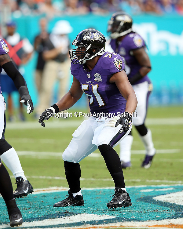 Baltimore Ravens inside linebacker Daryl Smith (51) chases the action during the 2015 week 13 regular season NFL football game against the Miami Dolphins on Sunday, Dec. 6, 2015 in Miami Gardens, Fla. The Dolphins won the game 15-13. (©Paul Anthony Spinelli)