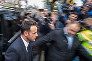 UNITED KINGDOM, London: 16 April 2018 Star of ITV's Saturday Night Takeaway Ant McPartlin appears at Wimbledon Magistrates Court this afternoon. The television host is charged with drink driving after being arrested in relation to a road traffic collision on March 18th. Rick Findler / Story Picture Agency