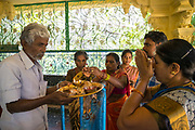 THIMMAMMA MARRIMANU, INDIA - 25 October 2019 - Pilgrims visit the temple at the centre of the Thimmamma Marrimanu banyan tree - the world's largest single tree canopy.