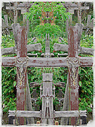 Manipulated photo taken by Leandra Lewis at the Hill of Crosses, at site in Lithuania to honor the dead