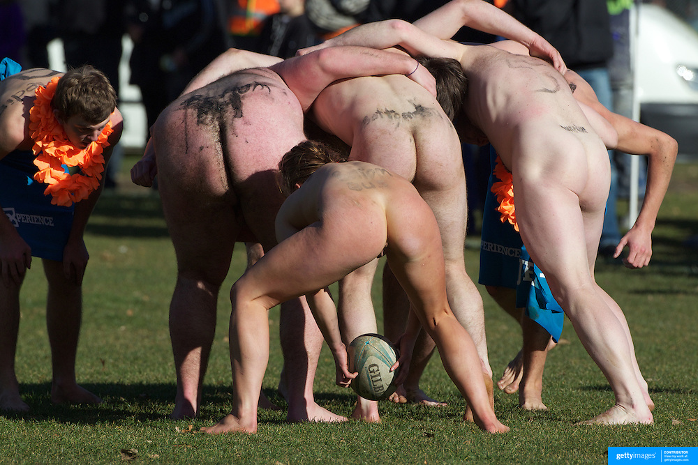 A scrum is contested during the 'Nude Blacks' versus a Fijian invitation side played at Logan Park, Dunedin as an unofficial curtain raiser match before the New Zealand V Fiji test match in Dunedin, New Zealand.....The 'Nude Blacks' played a Fijian invitation side at Logan Park, Dunedin, an 'unofficial'  curtain raiser before the New Zealand All Blacks test match against Fiji in Dunedin, New Zealand. .The 'Nude Blacks' won the match 20-10 with 21 year old female player Rachel Scott, a member of the Otago women's rugby team named player of the day. .Over 500 people turned up to watch the match which included a blind referee, Julie Woods and three clothed streakers who were ejected from the playing area..The 'Nude Blacks' traditionally play games before test matches in Dunedin and were using this match as a warm up for three nude games planned during the IRB Rugby World Cup in New Zealand with teams from Argentina, Italy, England and Ireland involved.  Matches will be played before World Cup games in Dunedin. New Zealand. 22nd July 2011. Photo Tim Clayton