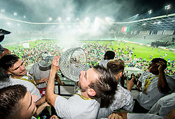 Rok Kronaveter of NK Olimpija and Dino Stiglec of NK Olimpija celebrate with a trophy after winning during football match between NK Aluminij and NK Olimpija Ljubljana in the Final of Slovenian Football Cup 2017/18, on May 30, 2018 in SRC Stozice, Ljubljana, Slovenia. Photo by Vid Ponikvar / Sportida