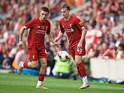 BRADFORD, ENGLAND - Saturday, July 13, 2019: Liverpool's Adam Lewis (L) and Liam Millar during a pre-season friendly match between Bradford City AFC and Liverpool FC at Valley Parade. (Pic by David Rawcliffe/Propaganda)