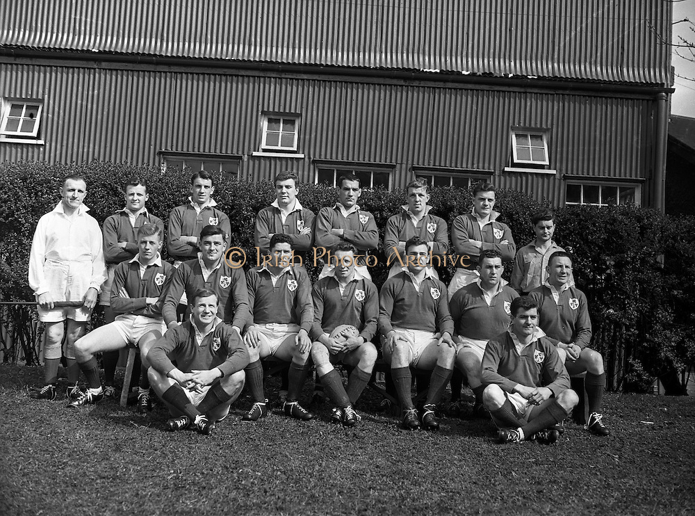 Irish Rugby Football Union, Ireland v France, Five Nations, Landsdowne Road, Dublin, Ireland, Saturday 18th April, 1959,.18.4.1959, 4.18.1959,..Referee- D G Walters, Welsh Rugby Union, ..Score- Ireland 9 - 5 France, ..Irish Team, ..N J Henderson, Wearing number 15 Irish jersey, Full Back, N.I.F.C, Rugby Football Club, Belfast, Northern Ireland, ..A J O'Reilly, Wearing number 14 Irish jersey, Right Wing, Old Belvedere Rugby Football Club, Dublin, Ireland, and, Leicester Rugby Football Club, Leicester, England, ..M K Flynn, Wearing number 13 Irish jersey, Right Centre, Wanderers Rugby Football Club, Dublin, Ireland, ..D Hewitt, Wearing number 12 Irish jersey, Left centre, Queens University Rugby Football Club, Belfast, Northern Ireland,..N H Brophy, Wearing number 11 Irish jersey, Left wing, University College Dublin Rugby Football Club, Dublin, Ireland, ..M A F English, Wearing number 10 Irish jersey, Outside Half, Bohemians Rugby Football Club, Limerick, Ireland,..A A Mulligan, Wearing number 9 Irish jersey, Scrum Half, London Irish Rugby Football Club, Surrey, England, ..B G Wood, Wearing number 1 Irish jersey, Forward, Garryowen Rugby Football Club, Limerick, Ireland, ..A R Dawson, Wearing number 2 Irish jersey, Captain of the Irish team, Forward, Wanderers Rugby Football Club, Dublin, Ireland, ..S Millar, Wearing number 3 Irish jersey, Forward, Ballymena Rugby Football Club, Antrim, Northern Ireland,..W A Mulcahy, Wearing number 4 Irish jersey, Forward, University College Dublin Rugby Football Club, Dublin, Ireland, ..M G Culliton, Wearing number 5 Irish jersey, Forward, Wanderers Rugby Football Club, Dublin, Ireland, ..N Murphy, Wearing number 6 Irish jersey, Forward, Cork Constitution Rugby Football Club, Cork, Ireland,..P J A O' Sullivan, Wearing  Number 7 Irish jersey, Forward, Galwegians Rugby Football Club, Galway, Ireland,..J R Kavanagh, Wearing number 8 Irish jersey, Forward, Wanderers Rugby Football Club, Dublin, Ireland,