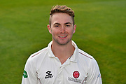 Head shot of Eddie Byrom of Somerset during the 2019 media day at Somerset County Cricket Club at the Cooper Associates County Ground, Taunton, United Kingdom on 2 April 2019.