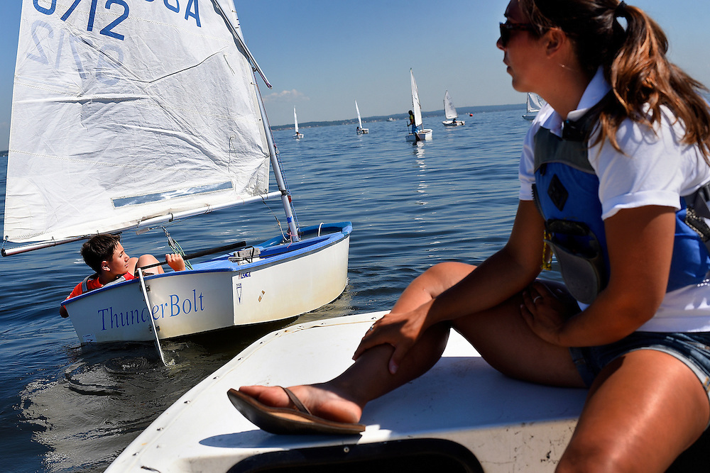 Young sailors participate in the Junior Sailing Regatta held by the Keyport Yacht Club along the Raritan Bay in Keyport on July 24. The all-day event attracts about 60 junior sailors, ages 8-17, from area sailing clubs to compete in beginner-and-advanced-level race classes.