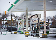 MILWAUKEE, WI – DECEMBER 16: Burned out gas pumps remain at the BP filing station on Burleigh Street and Sherman Boulevard on Friday, December 16, 2016. The station was one target of riots and protests following the shooting of Sylville Smith in August.
