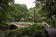 Bow Bridge amid very lush greenery; Central Park, New York City.