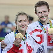 Track Cycling - Olympics: Day 11  Jason Kenny of Great Britain and his fiancee Laura Trott show their gold medals after both winning gold on the same day during the track cycling competition at the Rio Olympic Velodrome August 16, 2016 in Rio de Janeiro, Brazil. (Photo by Tim Clayton/Corbis via Getty Images)