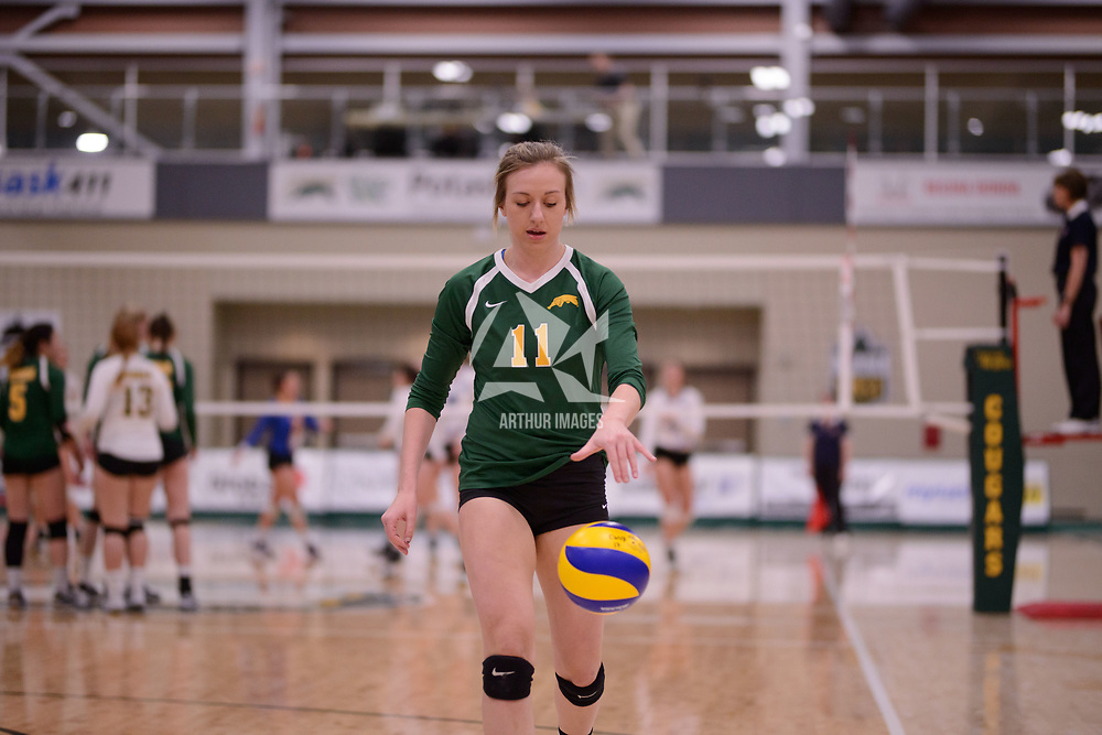 3rd year Right-Side hitter Haley Wagar in action during Women's Volleyball home game on February 3 at Centre for Kinesiology, Health and Sport. Credit: Arthur Ward/Arthur Images
