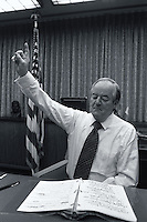 1977, Minneapolis, Minnesota, USA --- Democratic Senator and former Vice President Hubert Humphrey practices a speech. --- Image by © Owen Franken