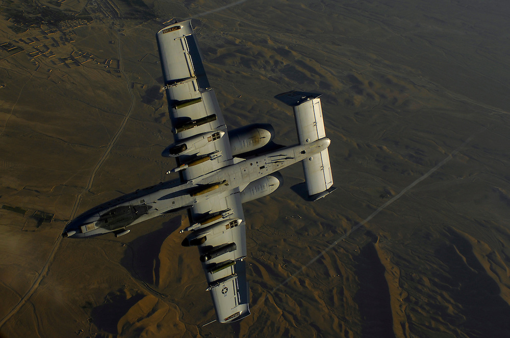 A U.S. Air Force A-10 Thunderbolt aircraft returns to the fight after receiving fuel May 29, 2008 from a KC-135 Stratotanker during a mission over Afghanistan. A-10 is deployed to Operation Enduring Freedom and the KC-135 is assigned to the 22nd Expeditionary Air Refueling Squadron, 376th Air Expeditionary Wing Manas Air Base Kyrgyzstan and is deployed from 141st Air Refueling Wing Fairchild Air Force Base Wash. (U.S. Air Force photo by Master Sgt. Andy Dunaway) (Released).