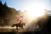 Merilee Raynor during rehearsal of the grand entry for the Woodside Junior Rodeo in Woodside, Calif., on Wednesday, June 29, 2016.