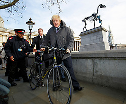 © Licensed to London News Pictures. 05/03/2015. LONDON, UK. Mayor of London Boris Johnson unveils fourth plinth sculpture 'Gift Horse' by German artist Hans Haacke in Trafalgar Square, London. Photo credit : Tolga Akmen/LNP