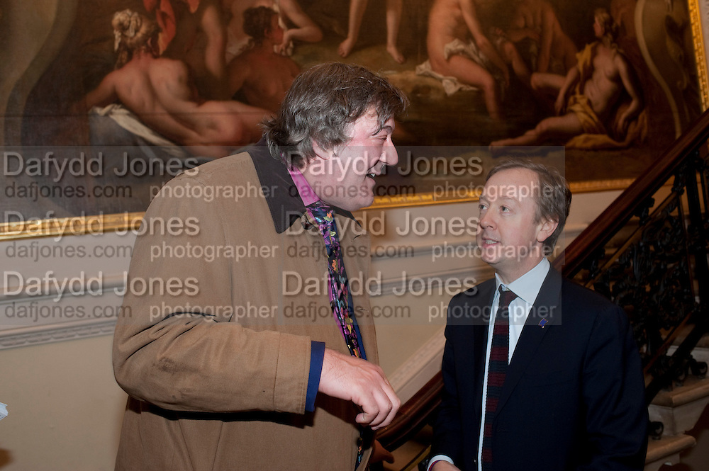 STEPHEN FRY; GEORDIE GREIG, Opening of David Hockney ' A Bigger Picture' Royal Academy. Piccadilly. London. 17 January 2012