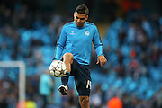 Real Madrid midfielder Casemiro (14)  during the Champions League match between Manchester City and Real Madrid at the Etihad Stadium, Manchester, England on 26 April 2016. Photo by Simon Davies.