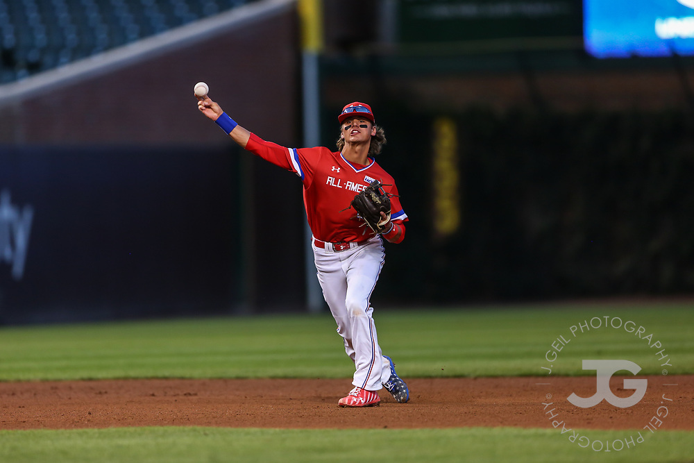 CHICAGO, IL - JULY 29:  Third baseman Blaze Alexander makes a play during the Under Armour All-America Game at Wrigley Field on Saturday, July 29, 2017 in Chicago, Illinois. (Photo by J. Geil/MLB Photos via Getty Images) *** Local Caption ***