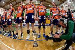 Team of ACH with a trophy at final match of Slovenian National Volleyball Championships between ACH Volley Bled and Salonit Anhovo, on April 24, 2010, in Radovljica, Slovenia. ACH Volley defeated Salonit 3rd time in 3 Rounds and became Slovenian National Champion.  (Photo by Vid Ponikvar / Sportida)