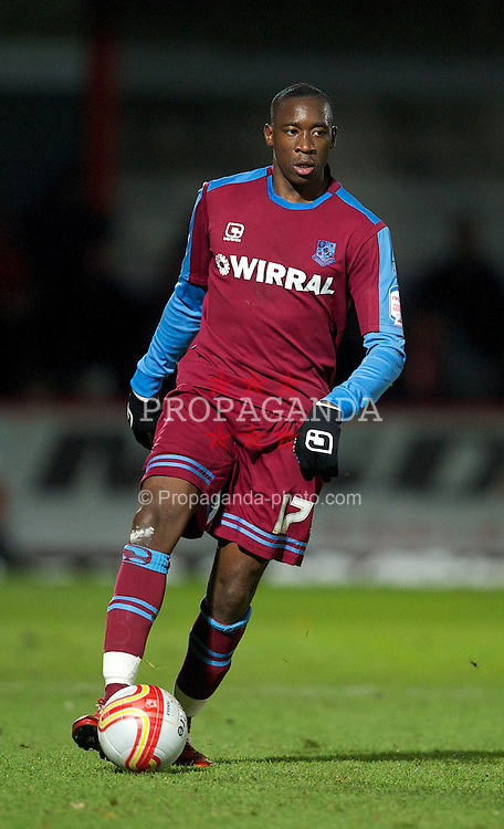 STEVENAGE, ENGLAND - Saturday, December 17, 2011: Tranmere Rovers' Lucas Akins in action against Stevenage during the Football League One match at Broadhall Way. (Pic by David Rawcliffe/Propaganda)