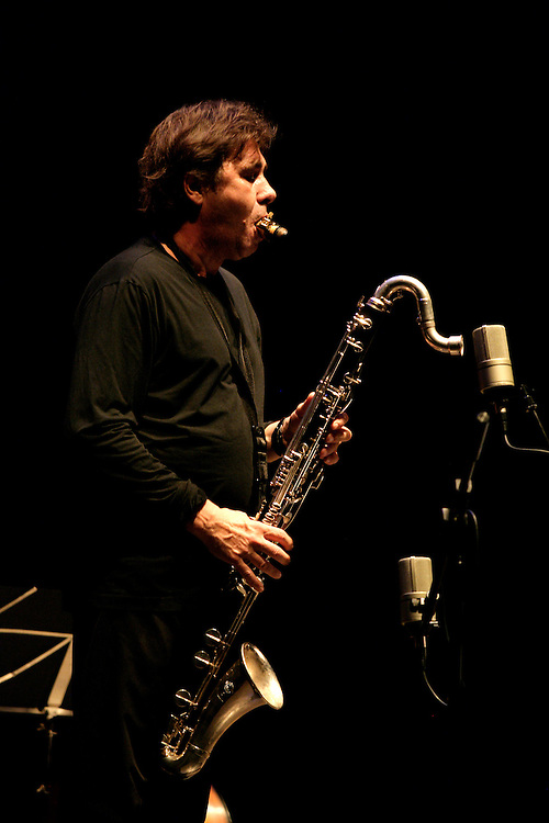 "French clarinet player Louis Sclavis during a Romano/Sclavis/Texier Trio performance. ""Jazz ao Centro"" jazz festival is held twice a year in portuguese town of Coimbra."