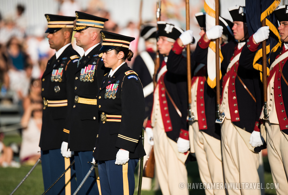The U.S. Army's Twilight Tattoo is held on Tuesday evenings in the summer at Joint Base Myer-Henderson Hall in Arlington, Virginia. The event features various Army regiments and personnel, with live music, marching bands, and historical reenactments.