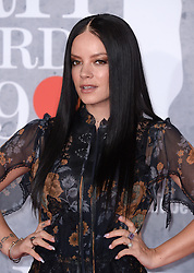 Lily Allen attending the Brit Awards 2019 at the O2 Arena, London. Photo credit should read: Doug Peters/EMPICS. EDITORIAL USE ONLY