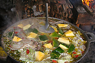 Pot of soup cooking outside in San Carlos Nicaragua