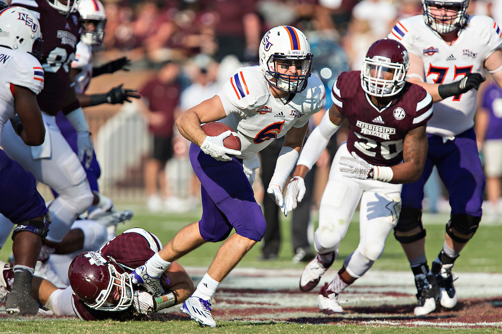STARKVILLE, MS - SEPTEMBER 19:  Joel Blumenthal #6 of the Northwestern State Demons runs the ball during a game against the Mississippi State Bulldogs at Davis Wade Stadium on September 19, 2015 in Starkville, Mississippi.  The Bulldogs defeated the Demons 62-13.  (Photo by Wesley Hitt/Getty Images) *** Local Caption *** Joel Blumenthal