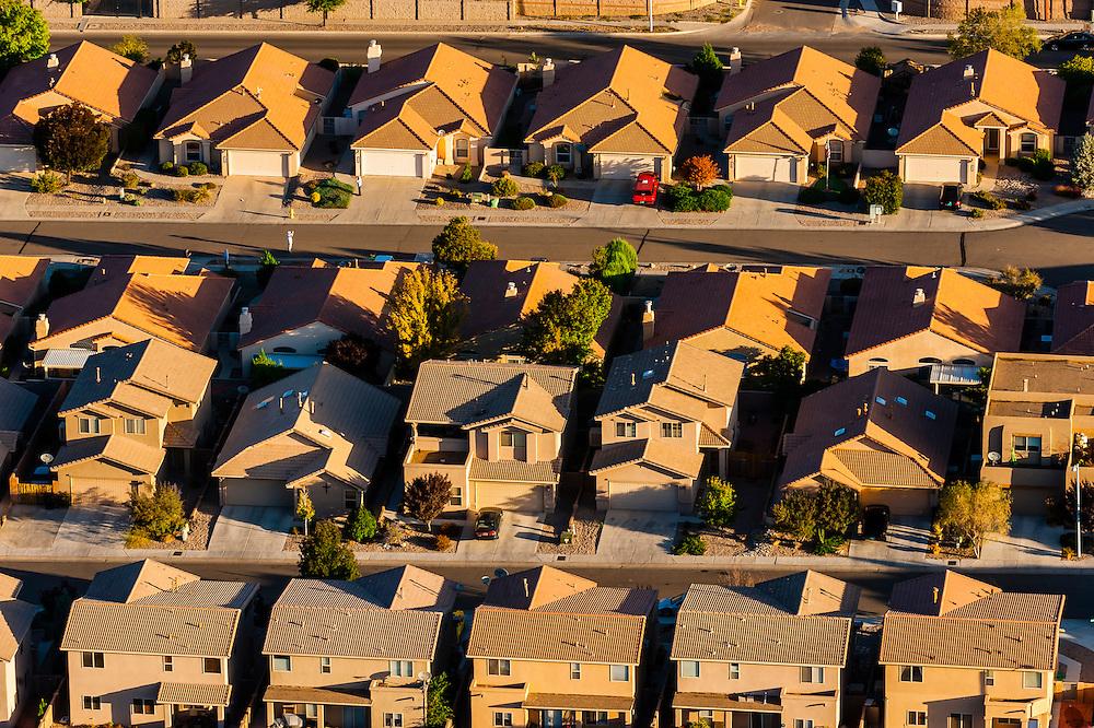 Aerial view of neighborhoods, Albuquerque, New Mexico USA