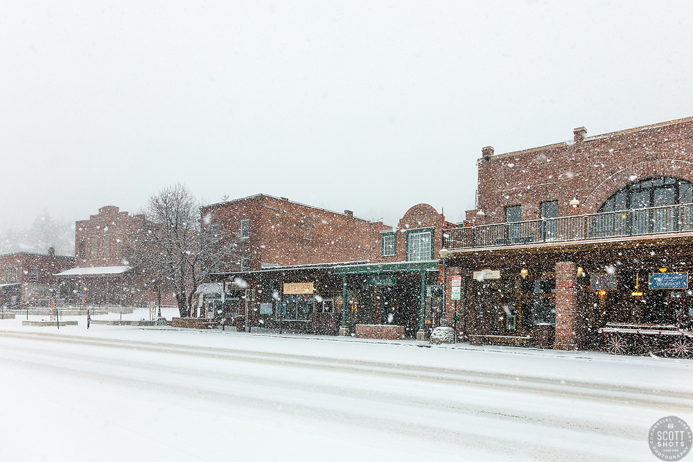 """""""Downtown Truckee 51"""" - Photograph of historic Downtown Truckee, California shot during a snow storm."""