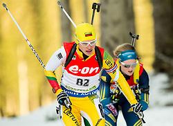 Diana Rasimoviciute-Brice of Lithuania competes during Women 7.5 km Sprint at day 1 of IBU Biathlon World Cup 2014/2015 Pokljuka, on December 18, 2014 in Rudno polje, Pokljuka, Slovenia. Photo by Vid Ponikvar / Sportida