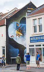 © Licensed to London News Pictures.  30/07/2018; Bristol, UK. NOTE: This Seagull artwork by Irony and BOE was one from 2017 that was kept for Upfest 2018. The third and final day of Upfest, The Urban Paint Festival, 2018 with themes this year including the Simpsons cartoon series and 100 years of the first women getting the vote. Upfest which is Europe's largest Street Art and Graffiti Festival takes place in the Bedminster area of Bristol between Saturday the 28th and Monday 30th of July. In celebration of their 10th anniversary, Upfest will feature the animated family, The Simpsons with 2018 festival goers treated to artist interpretations including Homer, Marge, Bart, Lisa, and Maggie. The festival has also teamed up with Bristol Women's Voice to celebrate the centenary of the first votes for women, and together Upfest and Bristol Women's Voice will celebrate the progress made since 1918, with three artists including Nomad Clan chosen to portray the suffrage movement and the rights of women. Upfest will have 400 artists from 70 countries in attendance, and this year three Upfest artists have been selected by The Simpsons creator Matt Groening to bring The Simpsons to life in their own unique styles: Bao, born and based in Hong Kong, is known for her freestyle work with vibrant murals and illustrations; Soker, a wildstyle writer, is one of Bristol's finest talents and has been putting his mark on the city since the late 80's; Nomad Clan, the collective of Cbloxx and AYLO, one of the most sought-after duos in the international global street art scene. Upfest will be raising money for The National Association for Children of Alcoholics (NACOA) which offers aid and assistance for children growing up in families affected by alcoholism. Photo credit: Simon Chapman/LNP