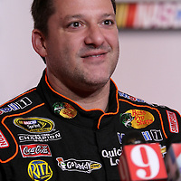 Driver Tony Stewart speaks with the media during the NASCAR Media Day event at Daytona International Speedway on Thursday, February 14, 2013 in Daytona Beach, Florida.  (AP Photo/Alex Menendez)