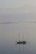 A sailing boat moored in Fethiye bay, Turkey.