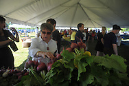 Marge McCauley looks over produce as Oxford City Market opens on West Oxford Loop in Oxford, Miss. on Tuesday, May 14, 2013.