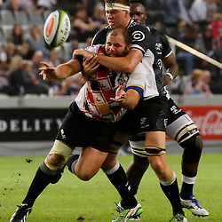 DURBAN, SOUTH AFRICA - MAY 21: Stephan Lewies of the Cell C Sharks tackling Jacobie Adriaanse of the Southern Kings during the Super Rugby match between Cell C Sharks and Southern Kings at Growthpoint Kings Park on May 21, 2016 in Durban, South Africa. (Photo by Steve Haag/Gallo Images)