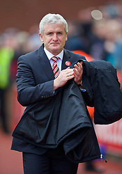 STOKE-ON-TRENT, ENGLAND - Saturday, April 30, 2016: Stoke City's manager Mark Hughes before the FA Premier League match against Sunderland at the Britannia Stadium. (Pic by David Rawcliffe/Propaganda)