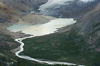 Terminal Lake of Robson Glacier, lateral moraine of Robson Glacier, Mt. Robson Provincial Park British Columbia Canada