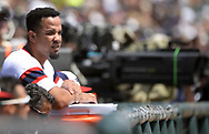 CHICAGO - JULY 29:  Jose Abreu #79 of the Chicago White Sox looks on against the Toronto Blue Jays on July 29, 2018 at Guaranteed Rate Field in Chicago, Illinois.  (Photo by Ron Vesely)  Subject: Jose Abreu