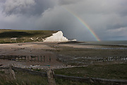 East Sussex, England, UK, May 4 2019 - The Seven Sisters cliffs, as seen from Seaford Head.
