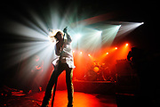 """Lincoln Parish, Matt Schultz, and Brad Schultz of Cage The Elephant perform in support of their """"Thank You, Happy Birthday"""" on May 24, 2011 at The Ritz Ybor in Tampa, Florida"""