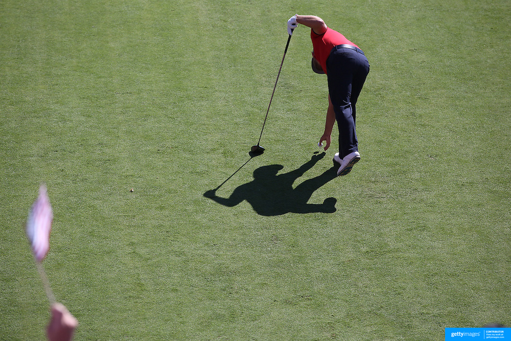 Ryder Cup 2016. Day One. Ryan Moore of the United States places his ball before teeing off at the first hole in the Friday afternoon four-ball competition during the Ryder Cup at Hazeltine National Golf Club on September 30, 2016 in Chaska, Minnesota.  (Photo by Tim Clayton/Corbis via Getty Images)